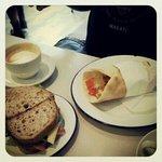 chorizo burrito & breakfast sandwich.