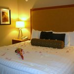 Part of the Romance Pkg at the Coho Lodge (roses and petals) on the comfortable king-sized bed