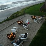 Overlooking the warm, friendly and relaxing fire pits at the Coho Lodge