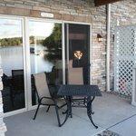 Outdoor patio off room.