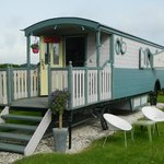 front of caravan with terrace
