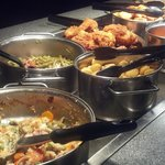 Delicious pot pie and tender chicken are regular buffet items.