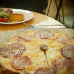 Onion tarte and flamma with salami