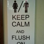 Keep Calm near the toilets