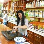 Karina making tea for guests