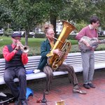 """""""Tin Pan"""" performing in front of Provincetown Town Hall"""