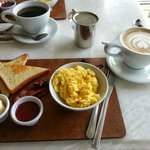 Scrambled eggs w/ homemade preserves and a cafe mocha (with almond milk!)