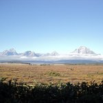 The Tetons from the restaurant window