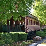 One of the antique dining cars, a unique feature of hotel steak house