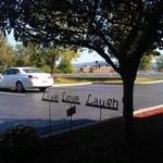 Live Love Laugh, is the saying in the front garden of the hotel in Big Flats.  Submitted by Caro