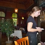 Taking our order in the Dining Room at Windsor Station
