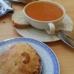 Lunch combo: chicken pie & tomato soup