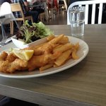 crispy fish n chips n salad $22