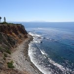 The lighthouse and Catalina Island, seen from Point Vicente