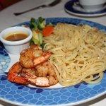 Shrimp over linguine