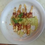 White asparagus with bacon and green sauce