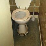 Toilet number 2,dirty surroundings and broken toilet seat.