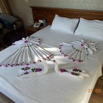 Our fantastic maid decorated our bed!
