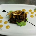 Guinness venison and pork toast with pear purée