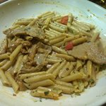 veal scallopini and girolles pasta dish