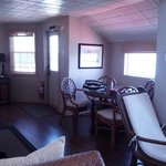 Lighthouse suite - little dining table and door to go outside