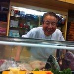 The world's happiest sushi chef.