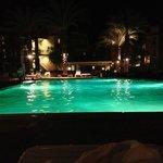 Enclaves pool at night.