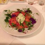 Smoked Salmon ,marinaded in critrus and beetroot , with avacado , mascarpone and lime dressing
