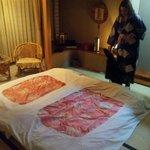 la camera con la yukata (veste da camera) che ti forniscono durante la permanenza