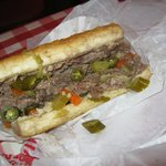 Italian beef sandwich with peppers