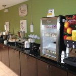 Breakfast bar. Hot and cold breakfast items available. You can also make your own waffles.