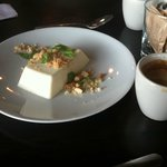 Rosewater panna cotta and a double espresso