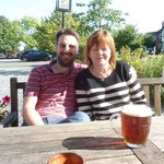 My son and wife outside The Plough