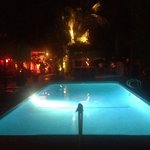 Sultry night beside the salt pool