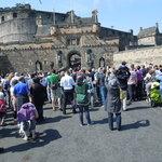 Crowd approaching castle