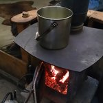 Cooking stew on the wood burning stove