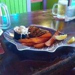blackened grouper with sweet potato fries
