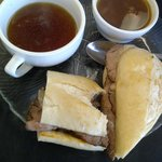 Prime Rib sandwich with vegetable beef soup