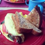 Spinach, tomato, mushroom, onion, goat cheese omelet