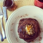 Chocolate pancakes with orange-ginger butter