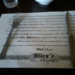 Table Mat narrates the restaurant's history