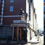 Along Fore Street, the main entrance of the Portland Harbor Hotel, one block west of the waterfr