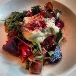 beautiful beet, kale. burrata, and bacon salad