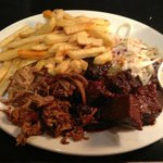burnt ends, pulled port, chips, coleslaw and yummy dip