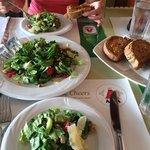 Rocket salad and garlic bread!