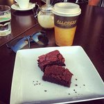 Chewy in-house brownie washed down with a Mocha