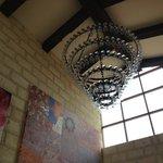 Wine glass chandelier.