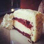 the yummy red velvet cheesecake!