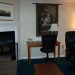 Fireplace and Massage Chair in the Fireplace Suite at Best Western Merry Manor, South Portland