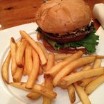 portobello burger and fries